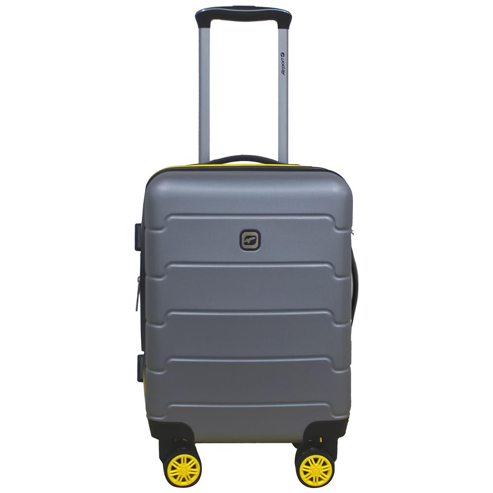 Чемодан Airport SQUARE сріблястий, 8 коліс, 50 см